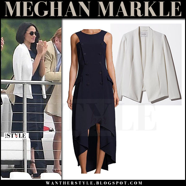 meghan markle in dark blue dress antonio berardi and white blazer at audi polo challenge may 6 2017 what she wore