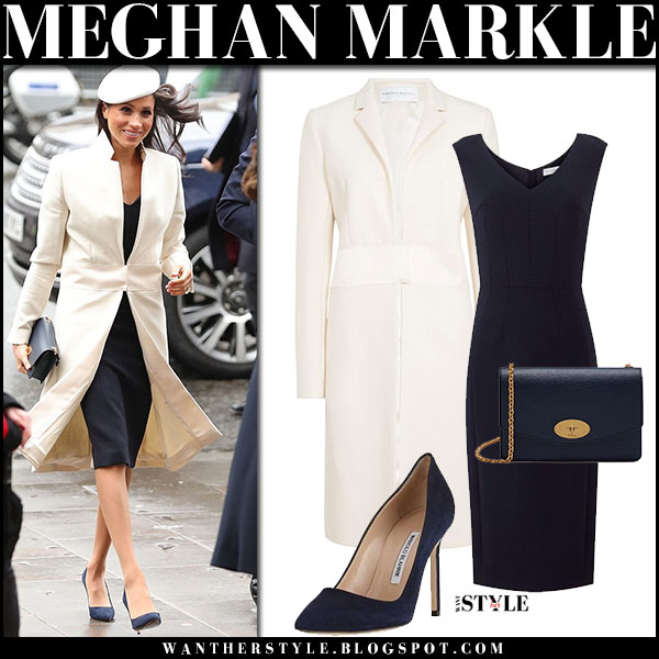 meghan markle in white coat pencil dress and pumps commonwealth day march 12 2018